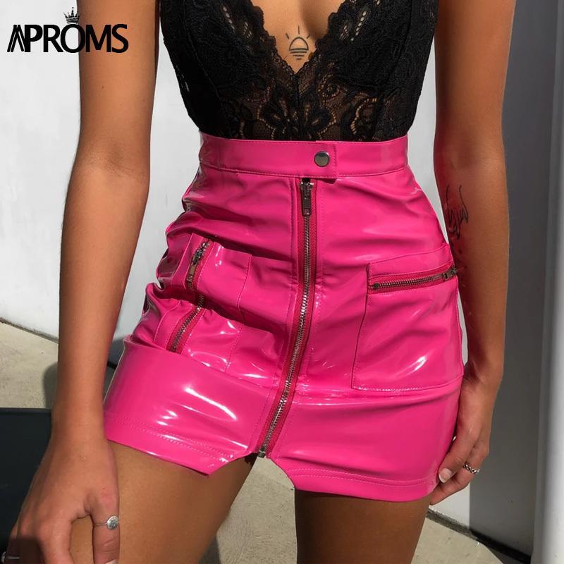 Практики Black PU кожи передняя молния мини-юбка женщин осень зима коротким карандашом юбки женские 2020 сексуальная уличная одежда розовые дниры Y200704