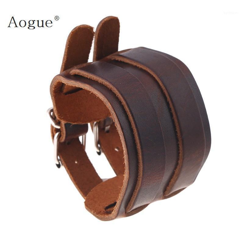 Black Brown 7 Bracelet en cuir véritable avec boucle en alliage Mode réglable Femmes hommes Bracelets bijoux1
