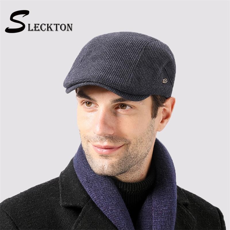 Sleckton Kış Şapkalar Erkekler Için Yüksek Kalite Bereliler Cap Moda Newsboy Şapka Kadife Sıcak Baba şapka Fransız Düz Caps 2012