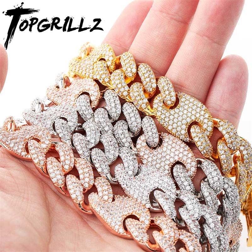 TopGrillz 16mm Miami Nova Caixa Clasp Cubana Link Corrente de Ouro Prata Cor Colar Gelado de Zircônia Cúbica Bling Hip Hop Jóias 201218
