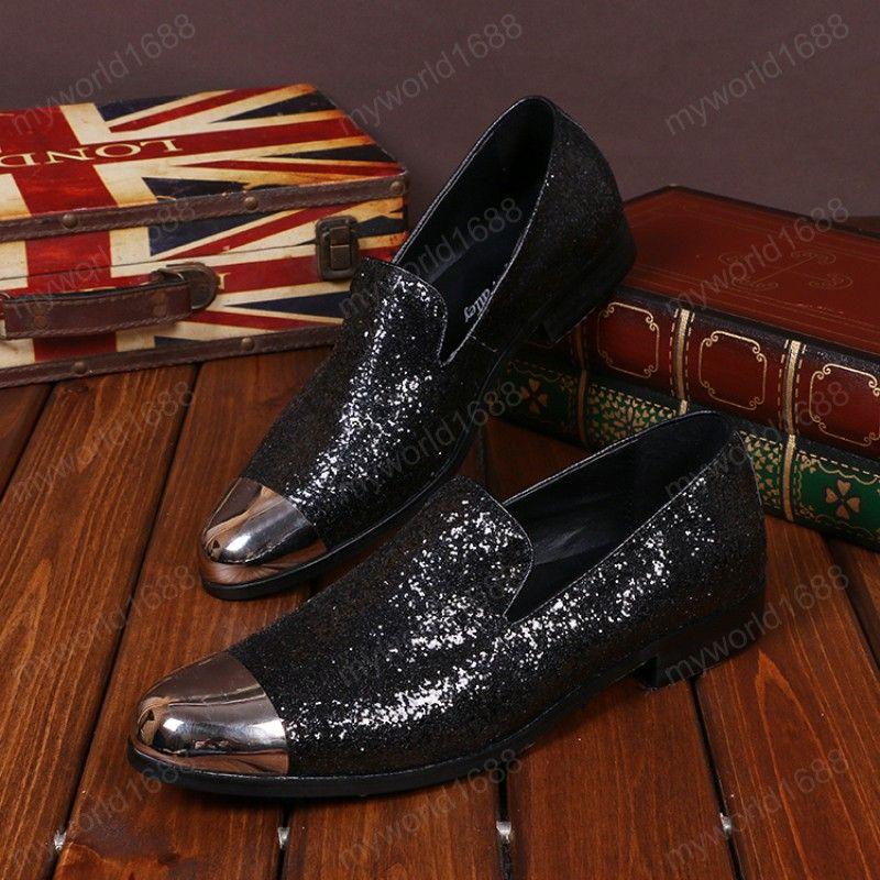 Британский стиль больших размеров мужчины черные блестки настоящие кожаные квартиры обувь металлический круглый носок человек вечеринка платье мокасины обувь