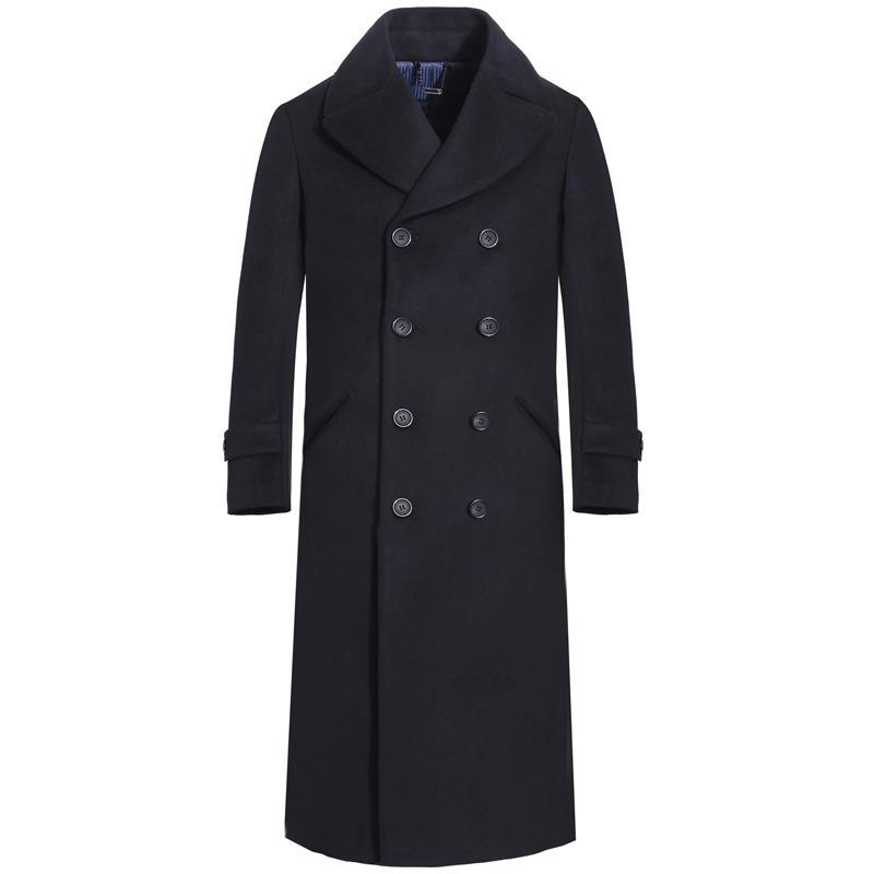 Мужская шерстяное пальто ветровка британский тонкий зимний новый бизнес повседневная длинная негабаритная шерстяная пальто