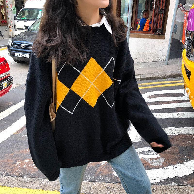 Estilo de faculdade coreano outono inverno padrão geométrico argyle pulôvers solto superdimensionado o-pescoço de malha de malha mulher jumper mujer 201030