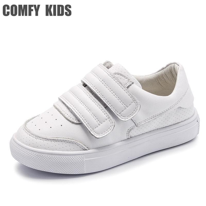 Zapatillas de deporte de cuero genuinas para niños cómodos para zapatos para niños planos con chicas niños zapatillas de deporte tamaño 21-36 zapatillas de deporte de alta calidad 201116