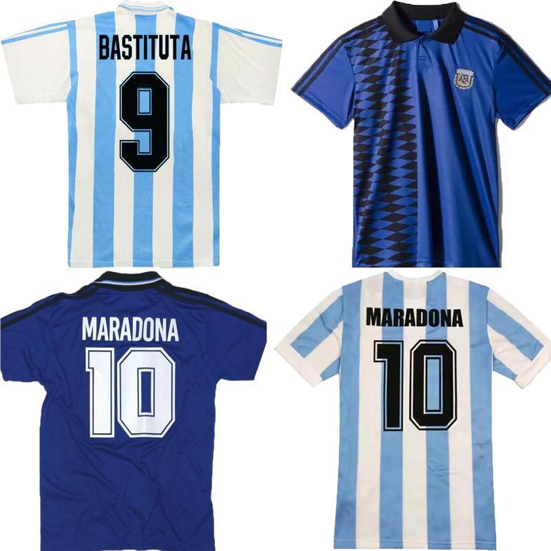 Versión retro 1978 1986 1994 1996 Argentina Home Soccer Jersey Messi Maradona CANIGGIA Quality Batistuta 94 95 Retro Classic Football Shirt