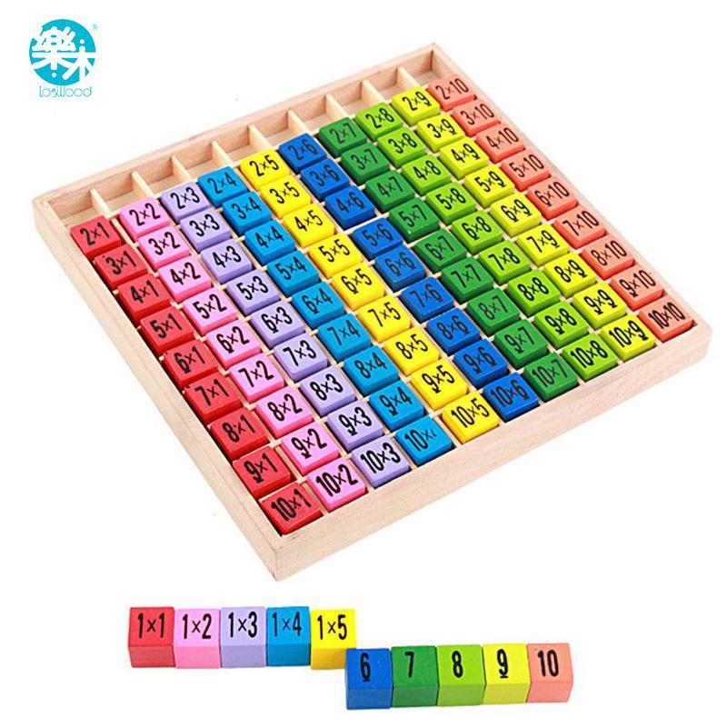 Детские деревянные игрушки 99 Умновив Таблица Математика Игрушка 10 * 10 Рисунок Блоки Детка Узнать Образовательные Подарки Montessori Бесплатная Доставка LJ200922