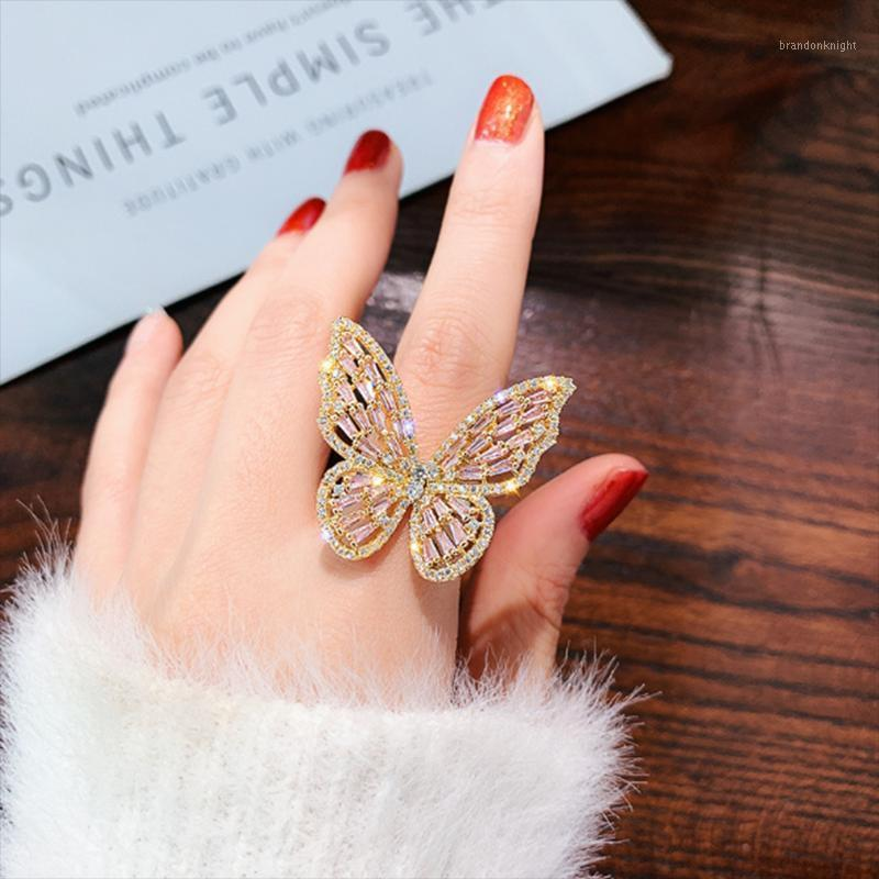 Fashion Butterfly Rings Women Jewelry Luxury Opening Ring Inlaid Zircon Mujer Female Shiny Anillo Jewellery Anel Bague Party1