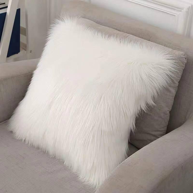Flauschige Kissen decken lange Plüschpelz weiße Kissen abdeckung dekorative Kissen Bett sofa super weicher Kissenbezug 45x45cm1