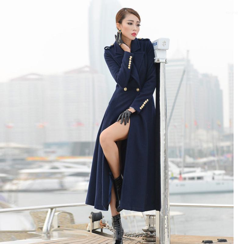 Mezclas de lana de las mujeres Doble breasted woolen abrigo femenino estilo invierno engrosamiento de las mujeres el cálido de las mujeres era delgada longitud de cachemira