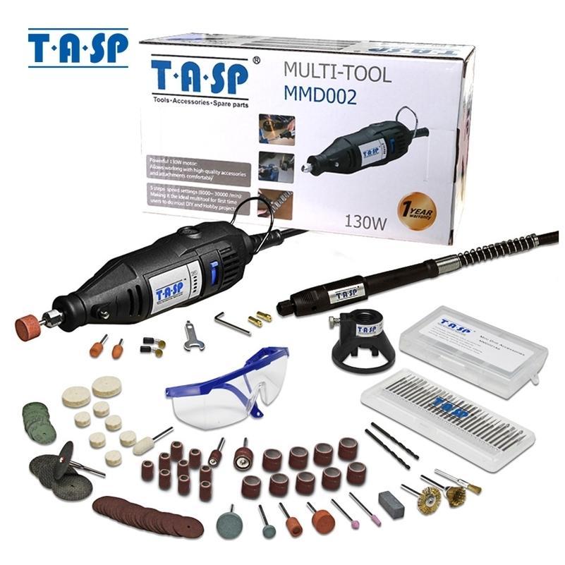 TASP 220V 130W mini eléctrico conjunto de ferramentas rotativas gravador de velocidade variável com anexos de acessórios 140 pcs 201225