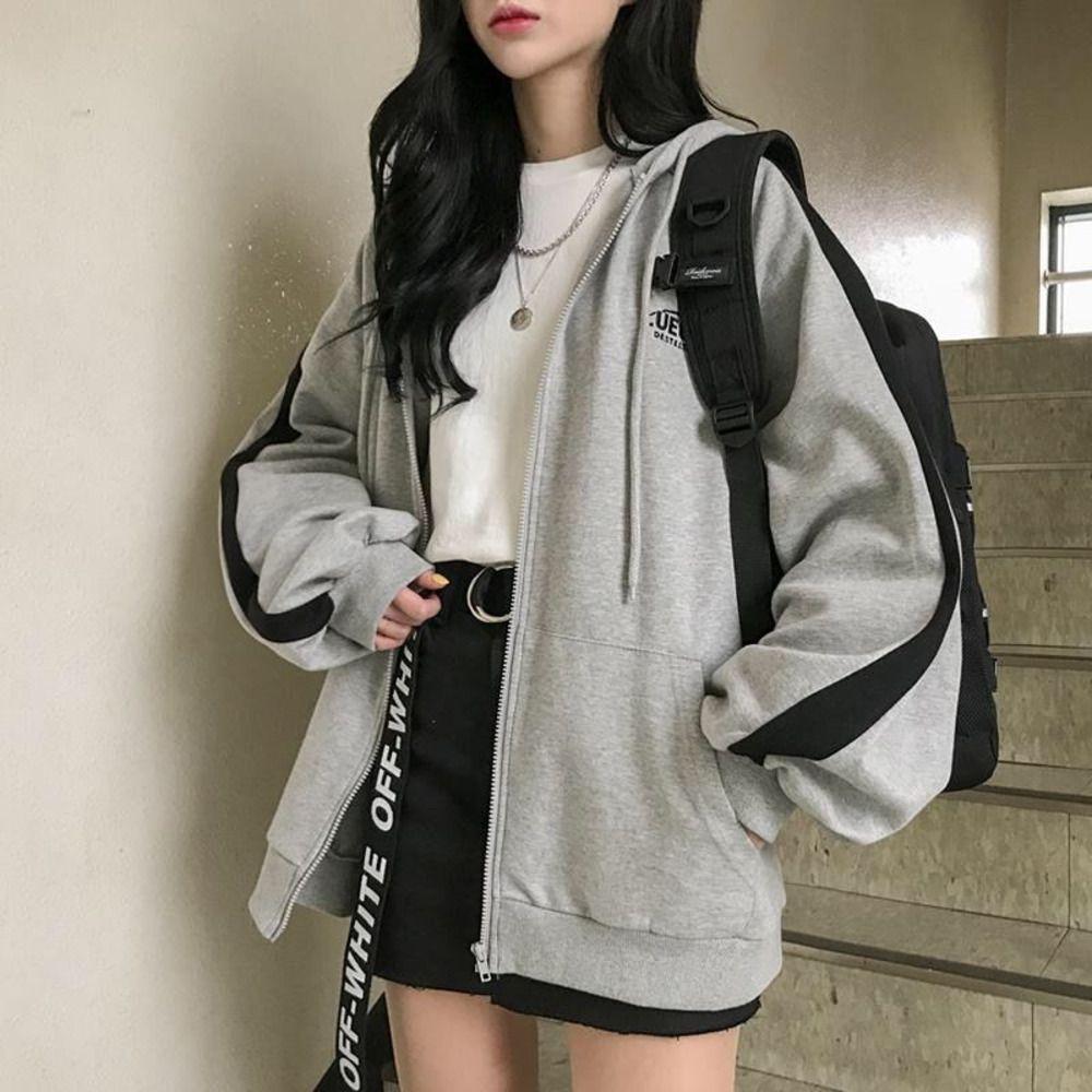 Boy Hoodies Kadınlar Rahat Uzun Kollu Gevşek Tişörtü Kadın Harajuku Sokak Erkek Arkadaşı Stil Kazak Polar Giysileri Q1218