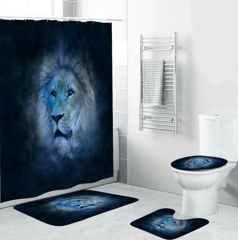 4pcs 사자 3D 인쇄 샤워 커튼 욕실 커버 미끄럼 방지 매트 욕실 커버 곰팡이 증거 방수 샤워 커튼