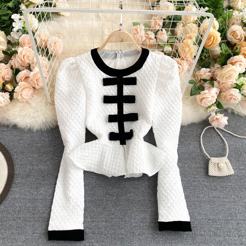 Estilo coreano Top para mujer Nuevo diseño Color Match Camisa recortada Cuello redondo Manga larga Slim Fit Ruffles Blusa Vintage Mujer Tops1