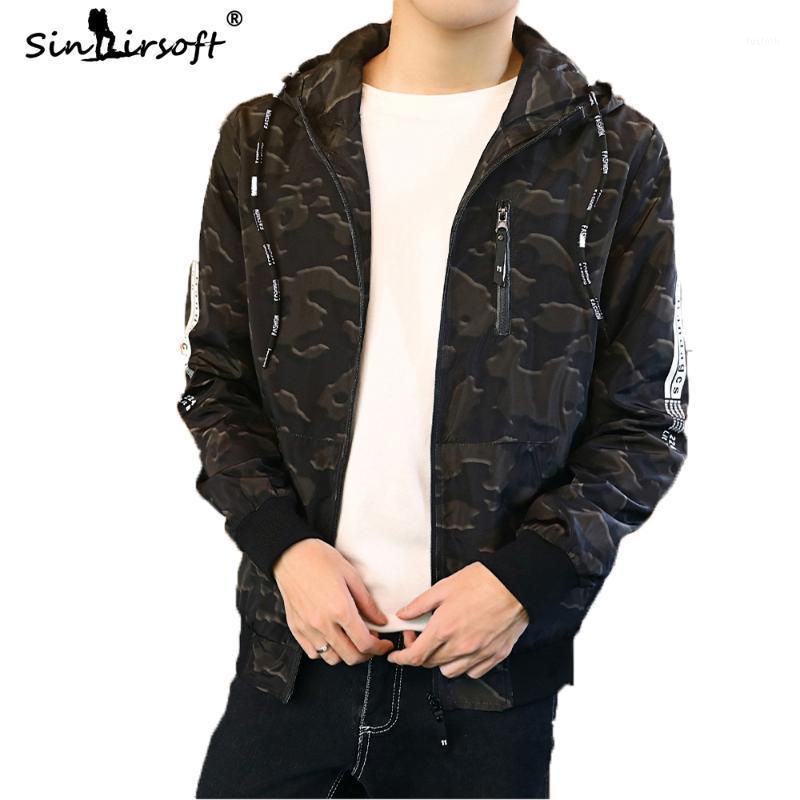 Мужские куртки камуфляж пэчворк мужская куртка стройная пригонка с капюшоном пальто мужская уличная одежда стиль топы молнии драпированные осень мода одежда1