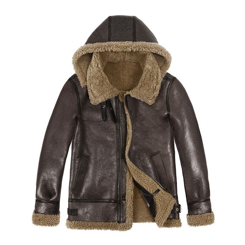 الرجال الجلود فو الشتاء البيئة الأصلية b3 حقيقي جلد الغنم معطف الفرو الرجل سميكة الدافئة سترة حقيقية الذكور shearling معطف مقنعين