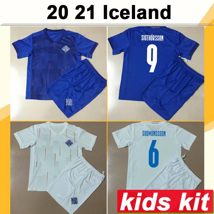 2021 Iceland Kids Kit Soccer Jerseys GUDMUNDSSON TRAUSTASON National Team Home Away Child Football Shirt INGASON GUNNARSSON Short Sleeve
