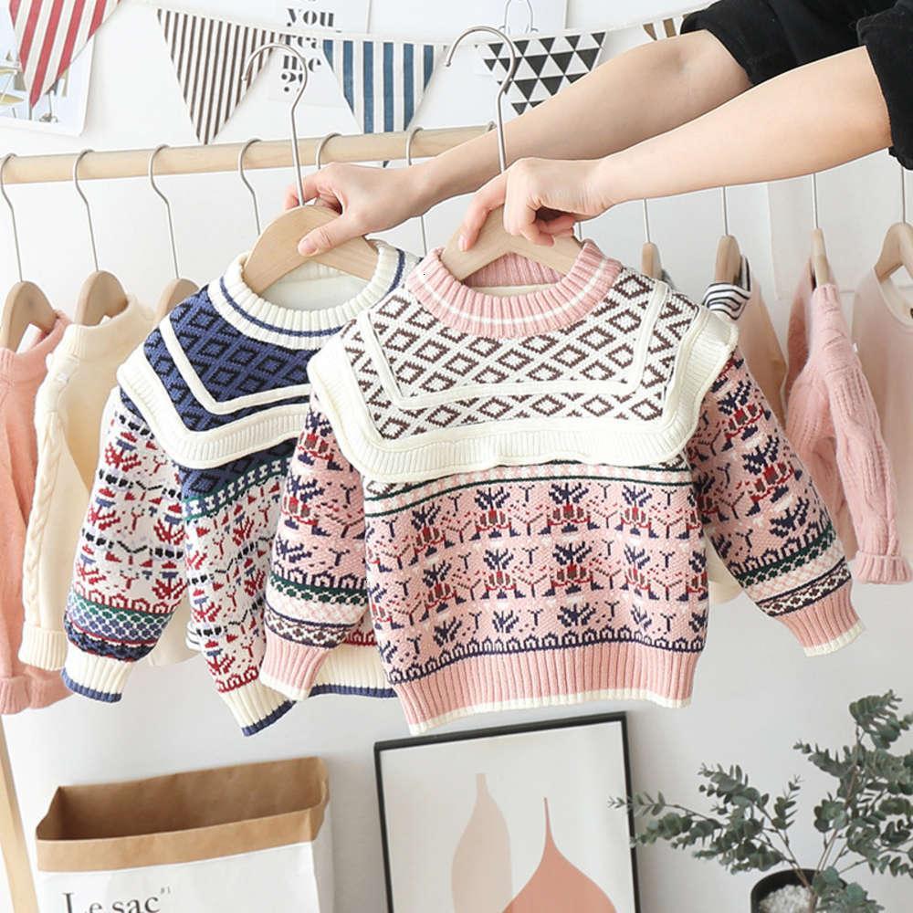 2020 Winterkleidung Neue Koreanische Kinder T-Shirt Jungen und Mädchen Jacquard Pullover Plüschplatte