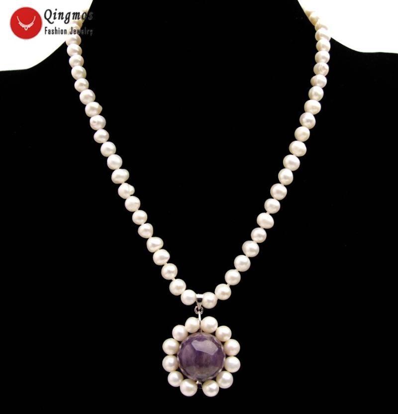Кулон ожерелья цинмос мода натуральное жемчужное ожерелье для женщин с 6-7 мм белый 18 мм фиолетовые аметики ювелирные изделия NE6526