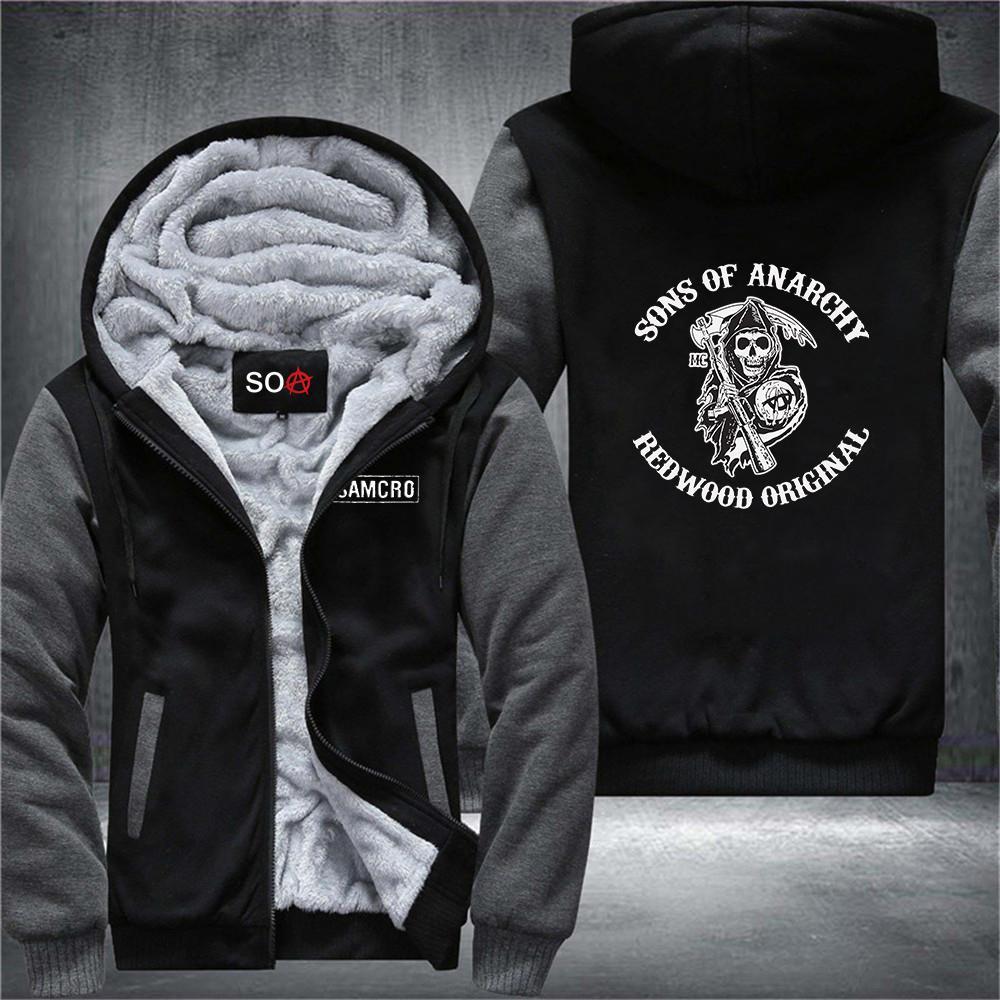 Hijos de invierno de los hombres de la chaqueta de la anarquía espesar con capucha de vellón SOA cremallera de algodón de algodón de las mujeres de la impresión Streetwear Samcro Sweatshirt