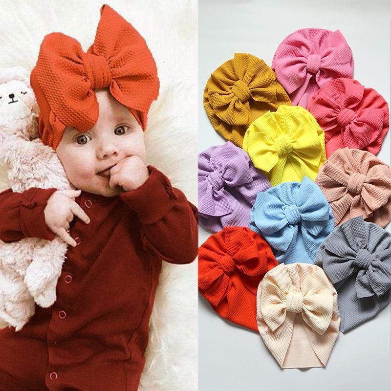 30 Renkler Bebek Hindistan Şapka Kız Bebek Big Bow Hat Çocuk Elastik Turban Headwrap Bebek Baş bandı Beanie Cap Çocuk Aksesuarlar kapakları
