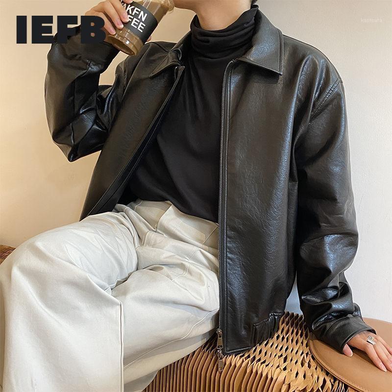 IEFB мужская одежда Осень новых негабаритных пальто корейской тенденции Свободная повседневная PU кожаная куртка пальто мужской молнии отворота одежда 9y43821