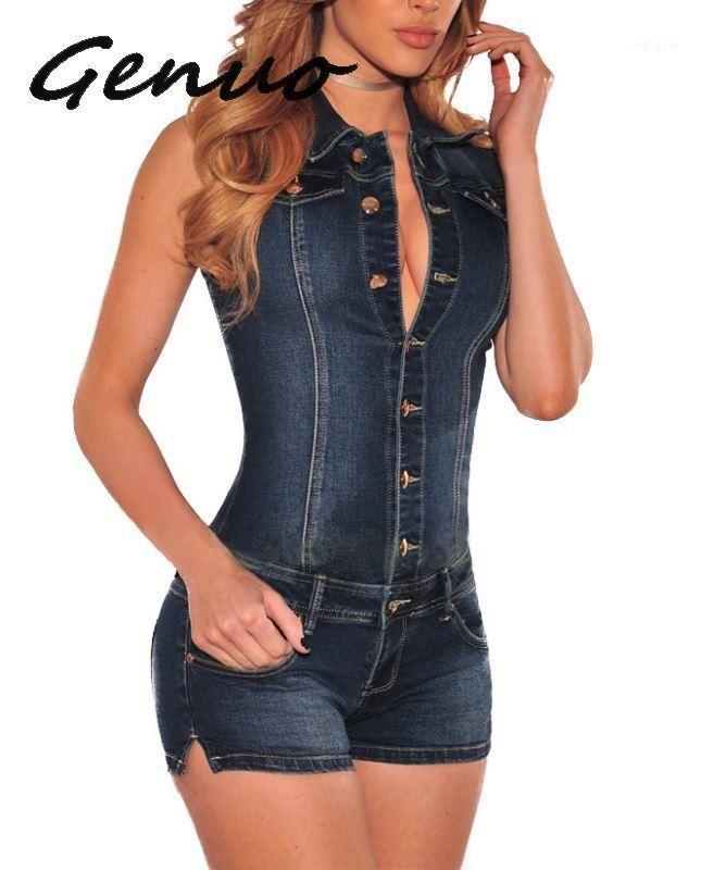 Genuo Nuove donne Summer Blue Jeans Playsuit Tute per le donne 2020 Combinaison Breve Femme Sexy BodyCon Denim Tuta Combishort1