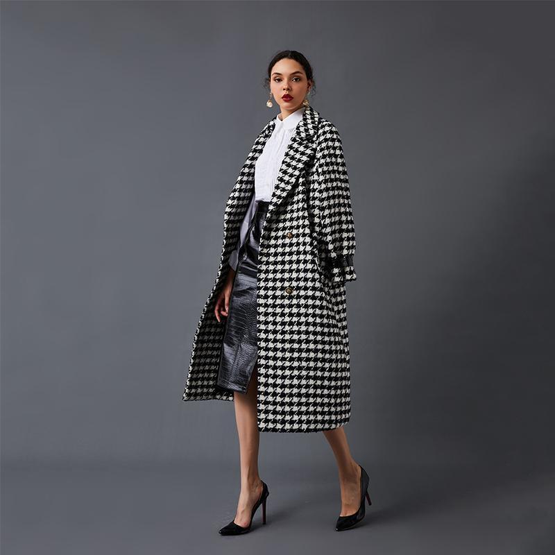 Negro Blanco pata de gallo mezcla de lana capa de gran tamaño caliente suave del invierno de la chaqueta elegante para C1115 temporada primavera y el otoño retro