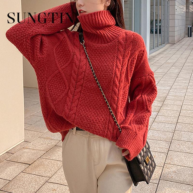 Sungntin 5 colore spessore dolcevita maglione donne sovradimensionate vintage nuovo autunno inverno pullover maglione di alta qualità maglione maglia jumper1
