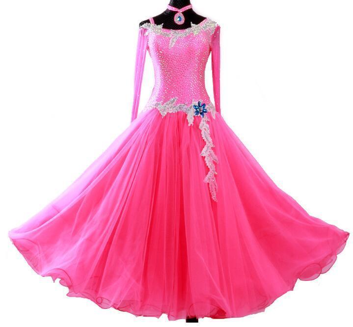 Стадия носить бальные танцы платье Longsleeve без спинки ленты из перьев женщины современный вальс танцо танго танца / стандартный костюм MD550