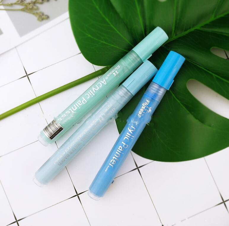 السيراميك ماركر اللوحة أقلام كتابات الأكريليك علامات الطلاء فرشاة فنان رسم زيتي doodle مجموعة اللوازم المدرسية 12 قطعة / المجموعة PPC536