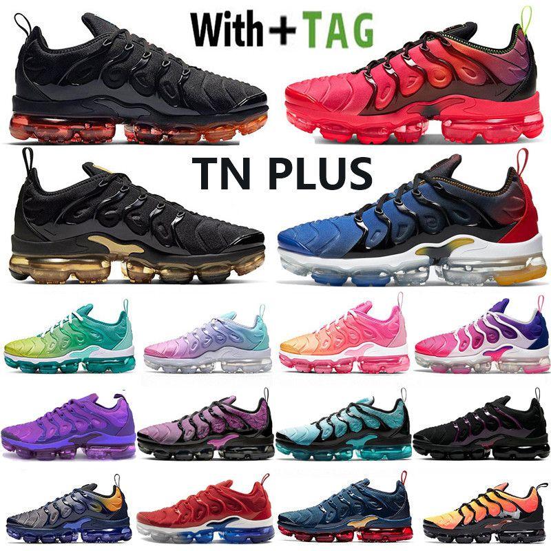 2021 Nueva Llegada Cojín OG TN Plus Black Laser Crimson Mens Shoes Running Shoes EE. UU. Gradientes Azul Midnight Womy Mujeres Sneakers Trainers 36-45