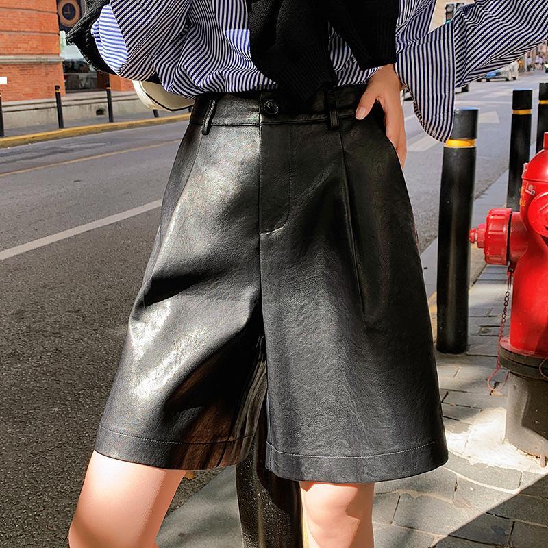 Женский 2021 новый новый плутоний шорты осенью и зимой кожаные брюки с высокой талией мода J3TC MOE9