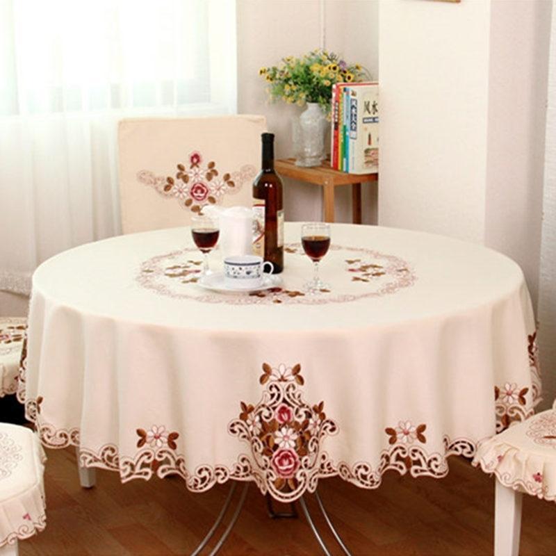 Europäische Stickerei Runde Tischdecke Esstisch Tuch Tee Tischdecke Weihnachten Tischdecke Dekorationen für Heim Tablecloths 201120