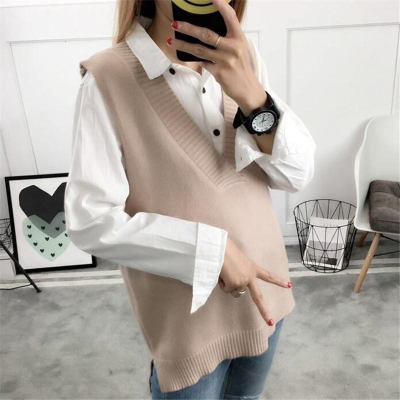 2020 donne maglione primavera autunno lana senza maniche o-collo gilet a maglia sezioni lunghe sezioni di poullover gilet femmina jumper pull femme