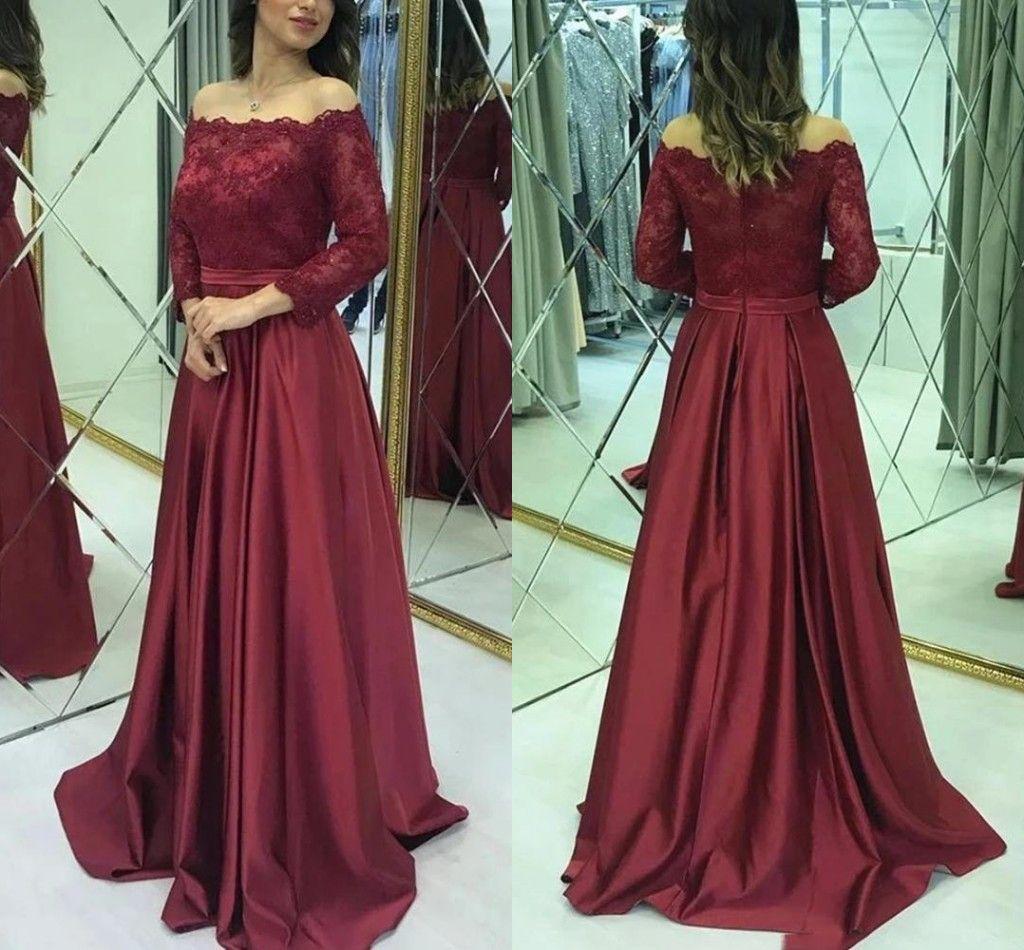 Burgundy Satin A-Line Мать невесты платье платье с плечом с длинными рукавами Свадьба Вечеринка Вечерние выпускные платья