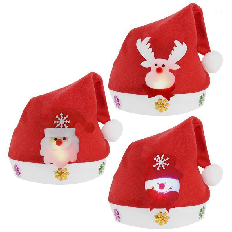 1 ADET Noel Kırmızı LED Kap Karikatür Santa Elk Yumuşak Peluş Şapka Yetişkin Çocuklar Noel Partisi Dekorasyon Yeni Yıl Partisi Malzemeleri1