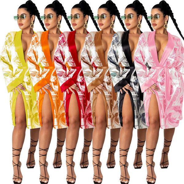 Femmes Sexy NightPlothes Winter Satin Satin Soie Tête de nuit Soie Soie Dames Sleep Hearwear Dollar Argent Robe Pyjamas pour NightClubs Designers Vêtements