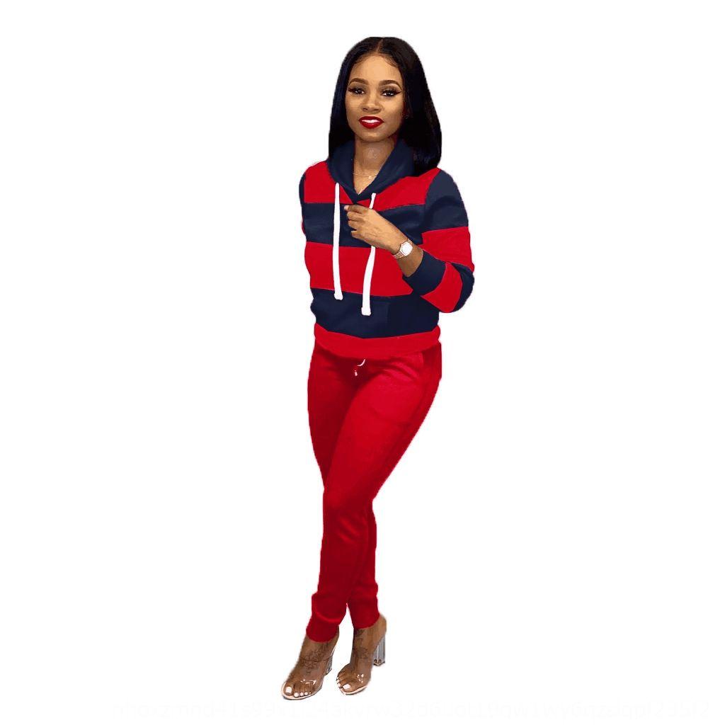 5IQJ 2020 Otoño Invierno Ropa de mujer Set de 2 piezas Patchwork Tricksuits Velor Chaqueta Abrigo + Longitud completa Velvet Pant Set New Casual