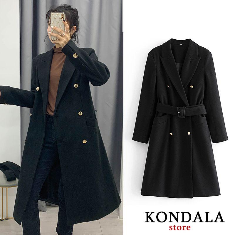 Casaco de escritório duplo, roupão, preto claro para outono, casaco de uma mulher