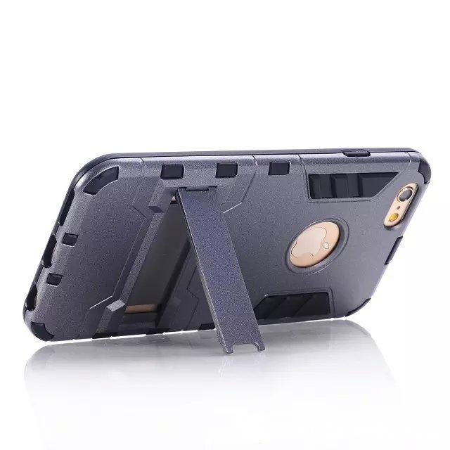 Caja de armadura de defensa antíritable de Kickstand anti choque TPU PC cubierta para iPhone X XR XS XS MAX 6S 7 8 PLUS GALAXY S5 S6 S6 EDGE S7 400 PCS / LOT