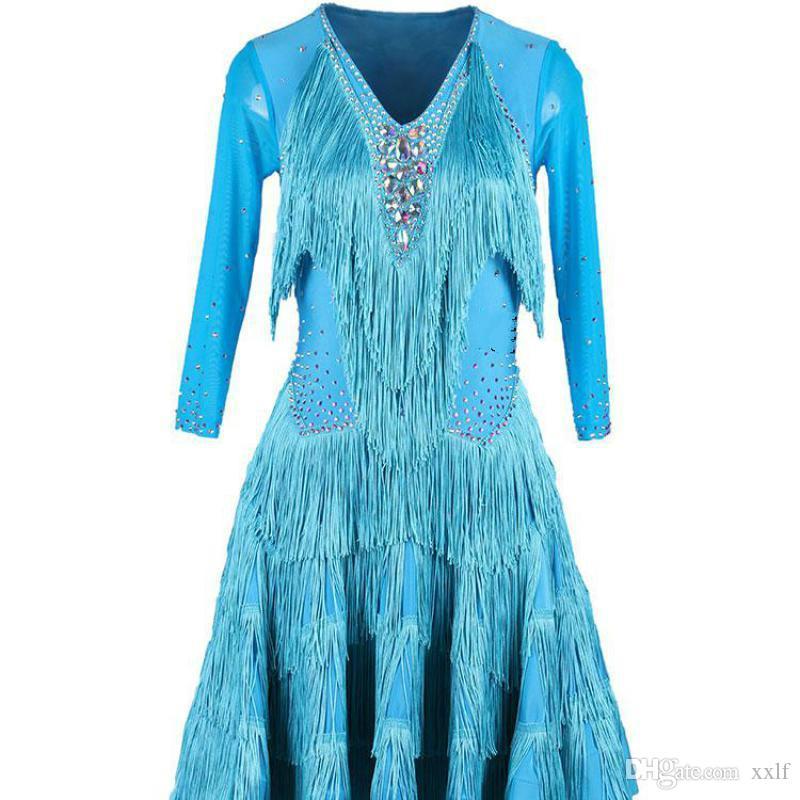 Brand New Damen Latin Dance Hell Diamant Wettbewerb Anzug Jitterba Tanz Fransen Rock Square Overall Rock
