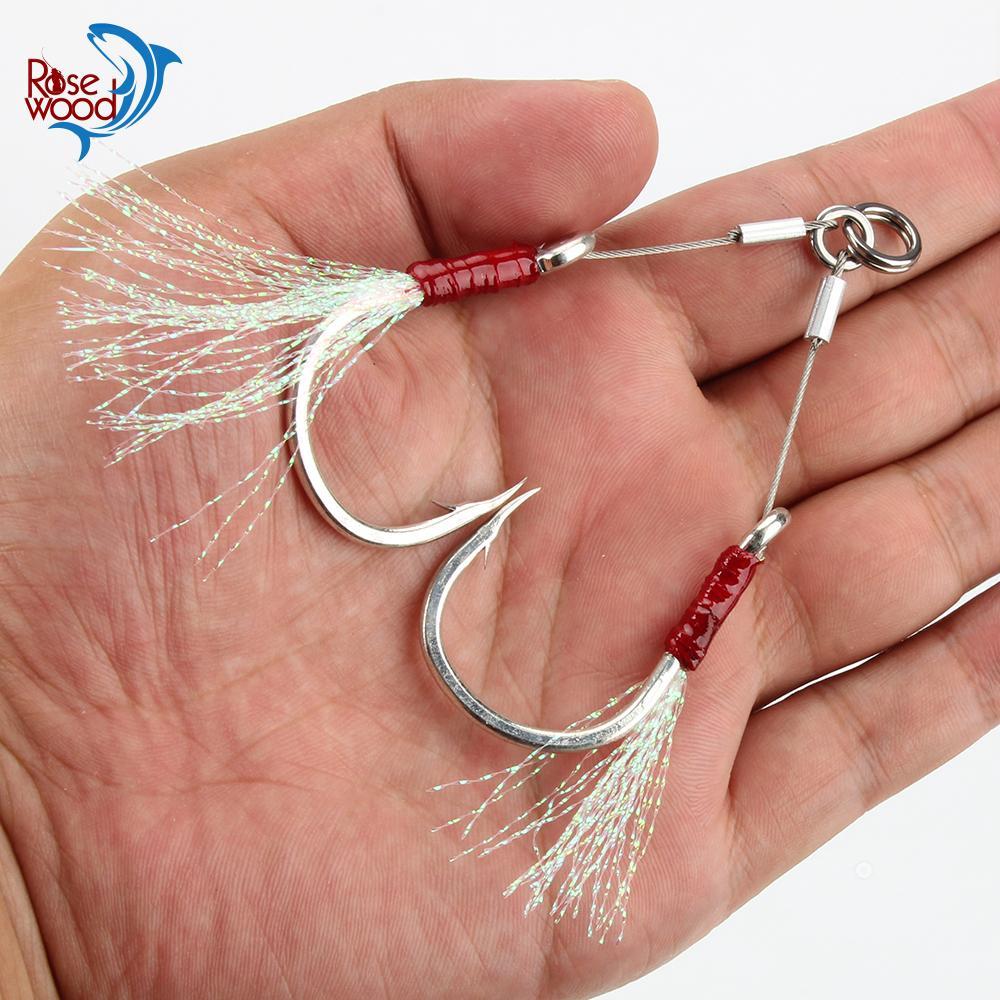 Rasewood Double Steel Wire Zericging крюк свечение соленые воды Рыболовные моря Крючки для катера Рыболовные снасти 1/0 2/0 3/0 5/0 7/0 помогают крючки