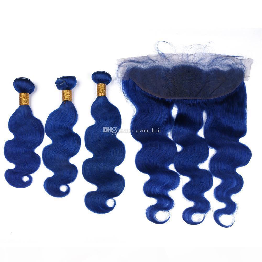 Capelli di colore blu tesse con pizzo frontale peruviano capelli vergini 13x4 piena pizzo frontale con il corpo scuro Body Wave Head 3bundles
