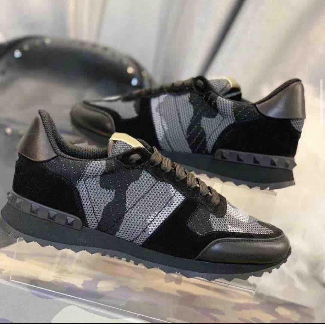 الرجال rockrunner التمويه أحذية رياضية شبكة النسيج المدربين رمادي حقيقي جلد الدانتيل متابعة عارضة الأحذية عداء أحذية US 11.5 مع هدية مربع