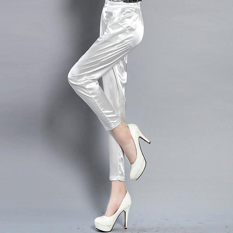 Tingyili Office Satin Pantalones de satén elegante coreano señoras harem pantalones negro blanco khaki pantalones mujeres gota envío