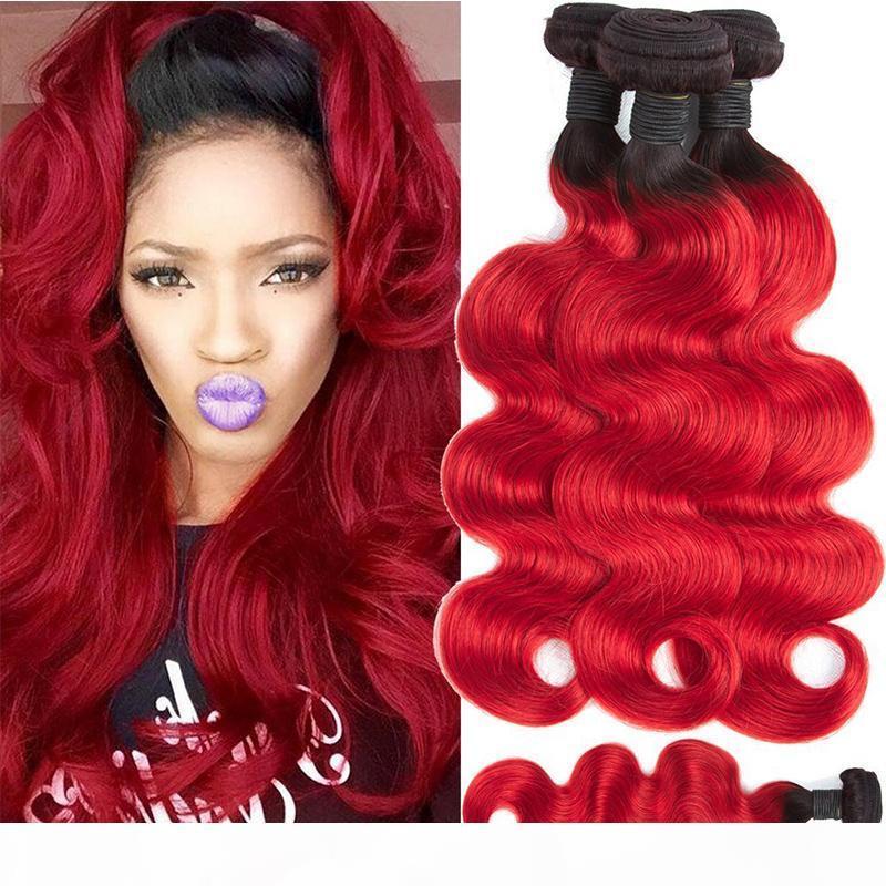 Цветные 1b красные бразильские человеческие волосы 4 пакета предложения дешевые бразильские омбре девственные волосы плетение двух тональные волны тела человеческие наращивания волос