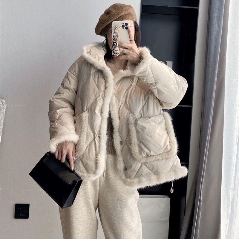 Модная красота старший молодой пальто алмазная решетка норки белая утка вниз женский стойка воротник вниз куртка меховая стойка воротник куртка Y14390
