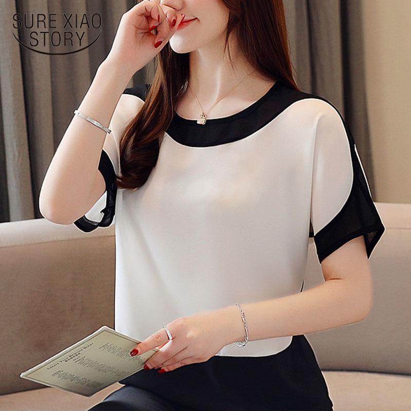 Tops y blusas para mujer Blusa de gasa de moda Tallas grandes Tops Tops Camisas Sólido Corto O-cuello Batwing Sleeve 3397 50 Y200103