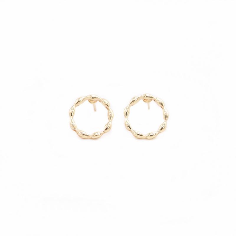 Ondas Criativas Círculo Design Brincos Brincos Na moda estilo redondo ouro branco rosa cor Adequado para as mulheres