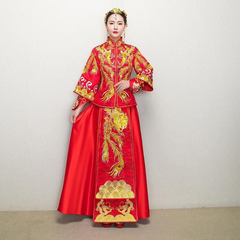 Red Traditional Chinese Gown Wedding Dress 2020 New Woman Long Cheongsam Qipao Vestido Oriental Style Dresses